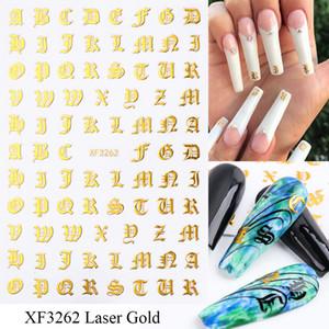 Carta 3D etiquetas del arte del clavo letra del oro láser apliques personaje negro pegamento de uñas calcomanía etiqueta UV Gel polaco manicura Accesorios