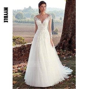 White Ivory Tulle Wedding Dress Long Sleeves Lace Appliques Bride Dress Illusion A Line Bridal Wedding Gowns Vestido de noiva