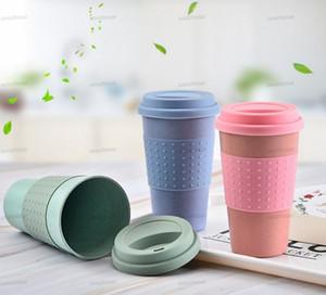 Экологически чистый кофе чашка чашки пшеницы солома путешествия водяной напиток кружка с силиконовой крышкой тумблеры синий зеленый розовый