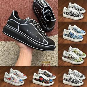 20ss Yeni Şov Moda Luxe Tasarımcı Ayakkabı Olağandışı Graffiti Erkekler Kadınlar Platformu Üçlü Siyah Beyaz Erkek Kadın Elbise Düğün Sneakers Ayakkabı
