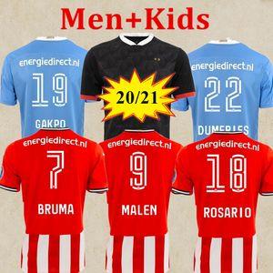 كبيرة الحجم 20 21 PSV ايندهوفن لكرة القدم جيرسي ثلث الأسود 2020 2021 BRUMA مالين بيريرو LOZANO الرجال + الاطفال مايوه دي لكرة القدم قميص camiset الثالث