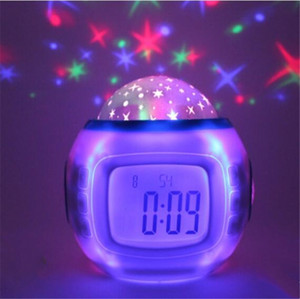 Mini Cor Mudando Digital LED Despertador Relógio Colorido Som Natural Acordar Light Light Cermômetro Redondo Termômetro Eletrônico Calendário de Desk