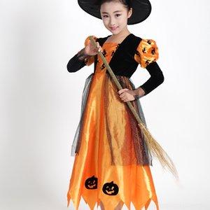 699e8 Хэллоуина детского костюма ведьмы одежды потому маскарад ролевых игр тыквы костюма озорной оранжевые Маленькой одежда тыква подсвечена