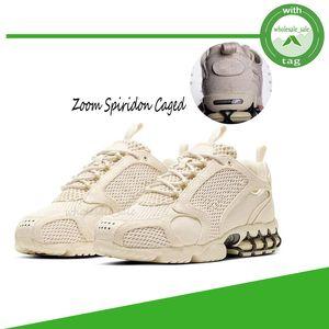 Stussy x Nike Air Zoom Spiridon 새로운 줌 Spiridon 리테이너 타입이 남성의 실행 신발 3M 스포츠 트레이너 트랙 레드 베이지 패션 디자이너 1000 여성 스니커즈 CU1854-200