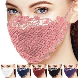 6 Farbe Art und Weise Lady Gesichtsmaske mit Spitze Cotton Mouth Masken Frauen-Dame-Staub-Beweis-Maske Waschbar wiederverwendbaren Maske Großhandel DHE732