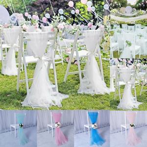 Président organza Jupettes Bow ouvrants chaise couverture tulle pour les mariages Events Party Banquet de Noël Décoration Ruban vert menthe