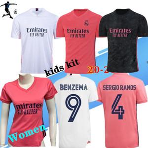 20 개 21 REAL MADRID 남자 축구 유니폼 위험 세르히오 라모스 벤제마 비니 camiseta 축구 셔츠 유니폼 여자 아이 키트 세트 2020 2021