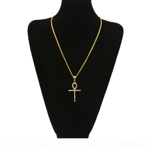 K Real Gold Plated Ankh Egyptian Pendant Necklace Bling Bling Rhinestone Crystal Key To Life Egypt Cross Necklace Cuban Chain Hip Hop J