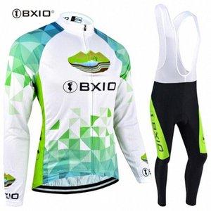 À manches longues d'hiver en polaire cyclisme Jersey BXIO femme Ensembles Respirant pleine Zipper vélo sport vélo Clothings 040 LPoJ #