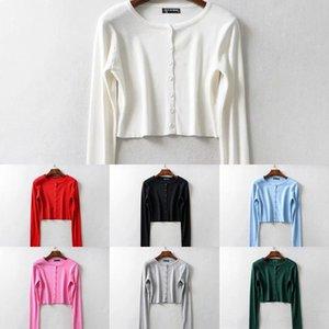 nxTVv 2020 nouveau printemps manteau manteau col rond court mince gilet couleur unie petit mode devant poitrine knitwear femmes knitwear