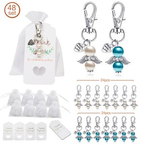 48pcs set Angel Favor Keychains Keyring Thank You Kraft Tags Candy Bags for Baby Shower Wedding Gifts for guests Party Decoratio