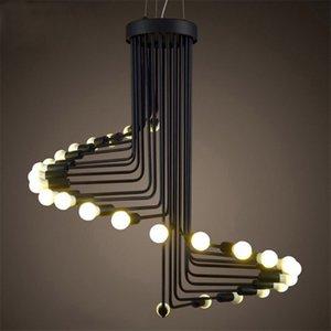 Loft Nero a chiocciola in ferro Pendant Light Industrial Vintage Scala Lampadario Luster Luminaria Sala da pranzo Goccia lampada