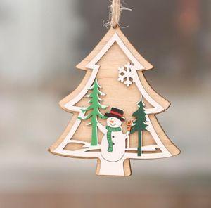 2D 3D рождественские деревянные висячие Подвески выдолбить Star Xmas Tree Белл Рождественский орнамент Главная партия украшения GGA3679-1