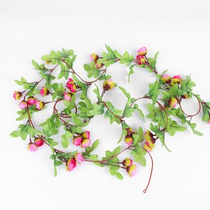 Artificial Flowers Silk Wedding Arch Fake Small Rose Flower Vine Hanging Ceiling Garland Cherry Blossom Home Pipe Backdrop Decor
