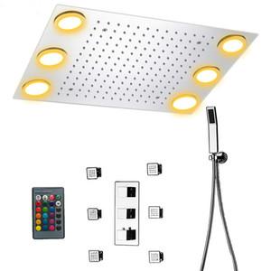 럭셔리 천장 마운트 샤워 세트 온도 조절 믹서 욕실 헤드 (6) 몸은 원격 제어 LED 조명 스프레이 샤워 강우량