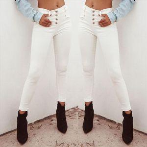 2020 Women jeans High Waist Ripped jeans for women Casual Denim White Skinny Long Trousers Leggings slim Pants Jeans mujer S10