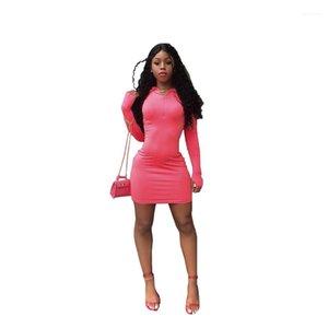 مصمم غمد أكمام طويلة مثير الفساتين الصيفية كاندي اللون الهيئة غير الرسمية اللباس ربيع الخريف