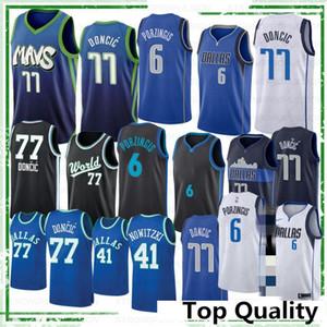 NCAA 77Doncic College Basketball Jerseys Kristaps 6 Porzingis Dirk Nowitzki 41 Donovan 100% costurado camisa 2019 20 New Top Quality