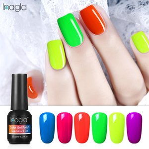 luxury- (6PCS) Inagla 10ML Luminous Nail Gel Set Classic Color Gel Polish Nail Lacquer Kit Soak Off UV LED Varnish Top Base Coat Needed