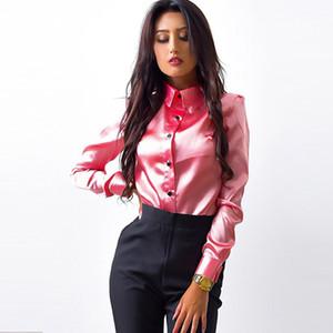 MOARCHO المرأة الحرير الساتان بلوزة زر طية صدر السترة طويلة الأكمام العمل المكتبي قمصان السيدات أنيقة الإناث أعلى جودة عالية blusa 2020 الجديد