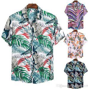 Mens пляжа гавайке лето с коротким рукавом рубашки мужские Брендовая одежда Casual Топы Блузка Рубашки Сыпучие Кнопка Вниз Рубашки
