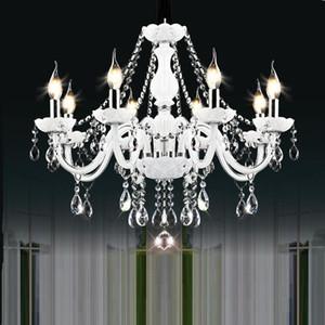 Bianchi luci di cristallo moderno lampadario lampada lampadari da letto Soggiorno Crystal Light Camera Fixture Lustri De Crista Lighting