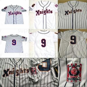 # 9 Рой HOBBS 1984 New York Knights The Natural Movie Button вниз Бейсбол Джерси 100% сшил на заказ трикотажные изделия Серый Белый Бесплатная доставка