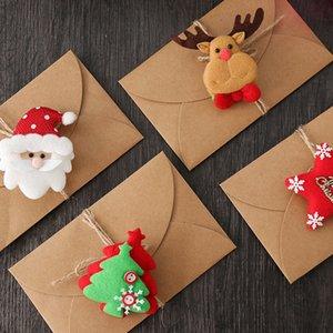 Carta kraft Biglietto di auguri con benedizione regalo peluche Tornante Christmas Card creativo 3D Retro messaggio Con Busta