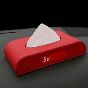 Pelle di lusso Car Box Auto Dual Uso Dual Uso Portassistenza mobile antiscivolo per car styling Creative Auto Tissue Boxes