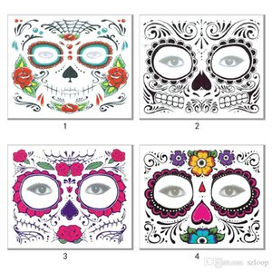 Christmas Party Facial Day of the Dead Faced Tattoo Halloween and Masquerade Ball Must Pretty Tattoo Sticker Waterproof Faced Tattoo DHL