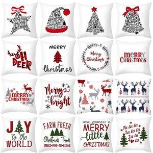 45x45cm Cartoon Santa Claus Elk Christmas Pillowcase 2020 Christmas Decor for Home Merry Ornament Navidad Xmas Gifts