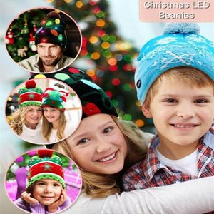 Christmas Knitted Hat LED Light Up Christmas Beanie Hat For Children Kids Adult Cap Gifts