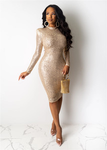alta qualidade caqui clube bodycon noite de outono vestido midi brilhante glamour vestido de paetês metálicos corpo Con Vestido