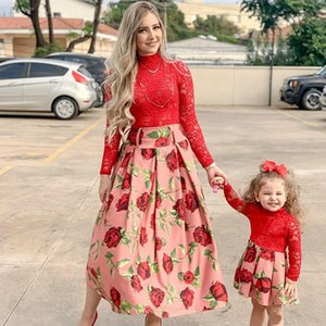 Long Sleeve Red Lace Wedding Dress For Family Look Matching Mommy Me Clothes New Year Mother And Daughter Dresses Outfits