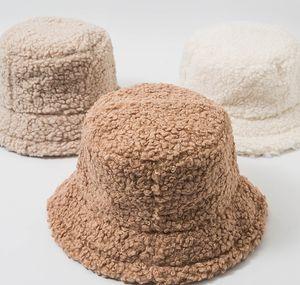 Women Hat Solid Artificial Fur Warm Female Cap Faux Fur Winter Bucket Hat for Women Outdoor Sunscreen Fashion