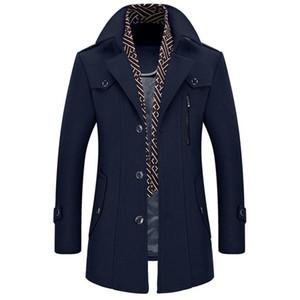 Autumn and winter business casual men's coat thickening jacket scarf collar windbreaker Slim detachable Overcoat men's