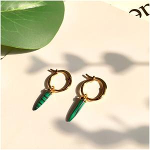 Vintage Greenstone Dreieck Troddel-Tropfen-Ohrring-lange Kette baumeln Ohrringe für Frauen Pendientes Brincos Schmuck Damen