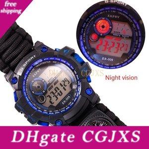 Открытый спортивный браслет Часы, водонепроницаемый Emergency Survival Часы, Whistle, Поджигатель, компас и спасательное снаряжение