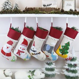 Natale Lino Calza Babbo Albero di Natale attaccatura dei calzini di natale per bambini Regali sacchetti di immagazzinaggio Albero di Natale a sospensione sacchetto del regalo YYA355