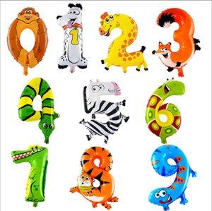 16inch Мультфильм животных Количество Фольга Воздушные шары Digit Гелий Баллоны Birthday Party Wedding Decor Air Baloons Party Event товары