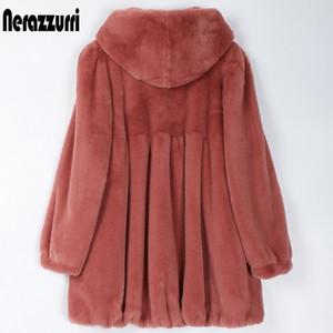 Nerazzurri Pleated light soft faux fur coat women with hood Skirted fluffy jackets for women Womens plus size fall fashion 200923