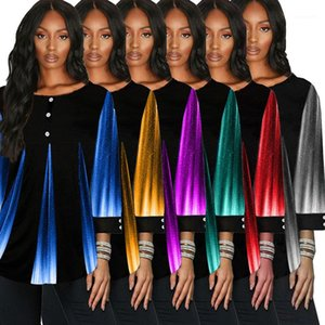 Fashion Woman Plus Size Tees Loose Ladies Tops Contrast Women Tshirts Casual Crew Neck Designer with Button