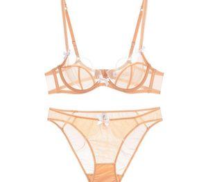Transparent Bra Petal Shape Sexy Lingerie Set Underwire Bow Decoration Underwear Women Sexy Mesh Bra Set77