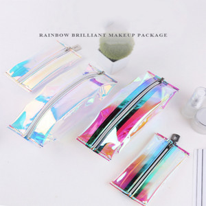 2020 Laser Transparent Make Up Pen Bag For Women Travel Folding Cosmetic Organizer Zipper Storage Pouch Toiletry Beauty Wash Kit