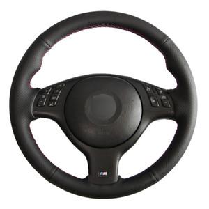 diy Black Faux Leather Car Steering Wheel Cover for BMW M Sport 3 Series E46 330i 330Ci 5 Series E39 540i 525i 530i M3 M5 2000-2006