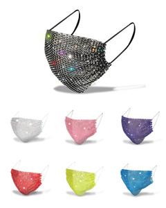 Sequins Fashion Mask Bling 3D lavabile riutilizzabile PM2.5 Cura del viso Scudo Sun Color Gold Glow Glow Cover Masks Bocca