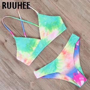 RUUHEE del tinte del lazo del bikini del traje de baño 2020 de las mujeres empuja hacia arriba el traje de baño dinosaurio impresión de natación atractivo del vendaje de verano traje de baño femenino