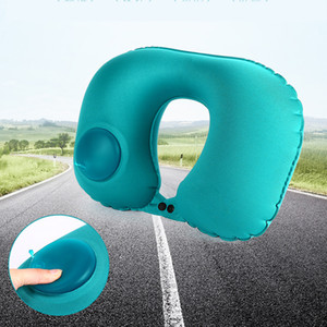 Pressing Automatic Inflatable U-Shape Pillow Air Cushion Pillow Outdoor Travel Neck Pillow Comfortable for Car Home Office Sleep