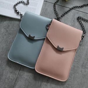 Cat Ear Transparent Touch Screen Simple Mobile Phone Bag 2020 Women Messenger Bags Small Flap Bag Mini Shoulder Bag