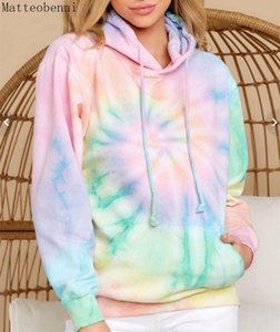 women Tie Dye Hoodie sweatshirts Autumn Long sleeve 2020 oversize ladies pullovers casual loose pocket hooded shirt Streetwear MX200808
